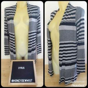 CYRUS NWT Black and Grey Striped Stretchy Cardigan